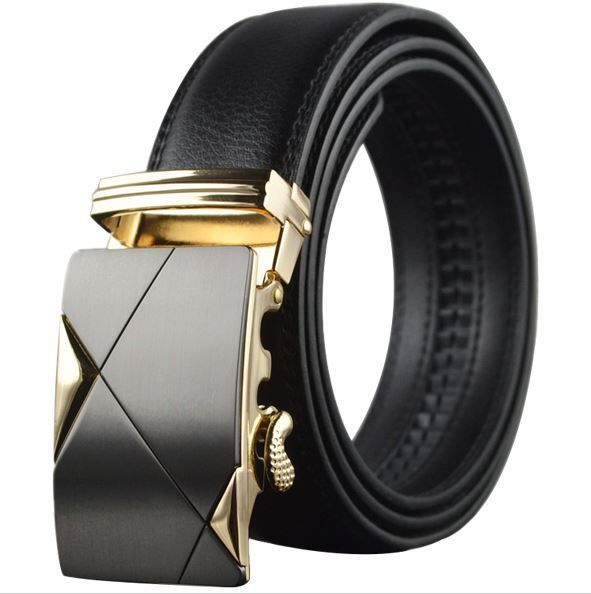Belt Mens Cowskin Black Genuine Leather Belt Auto Buckle Abstract Gold/Black - Zabardo