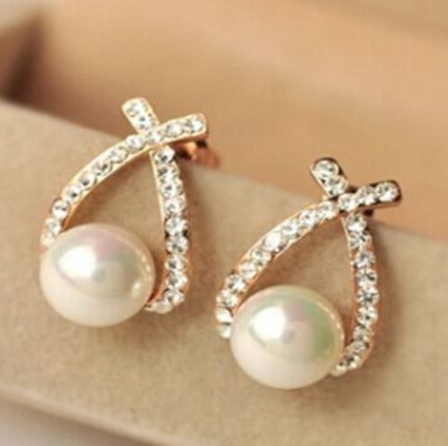 Earrings women's pearl  & Crystal  stud earrings  fashion jewelry Zabardo